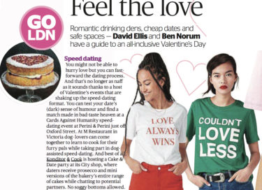 coverage in The Evening Standard, 9 February 2018