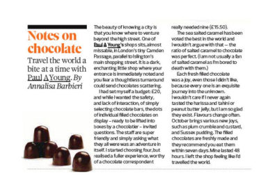 Paul A Young Fine Chocolates coverage in The Observer, 20 October 2019