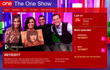 coverage in The One Show, 9 October 2017