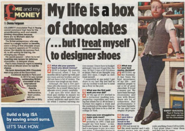 Paul A Young Fine Chocolates coverage in The Mail On Sunday, 12 August 2018