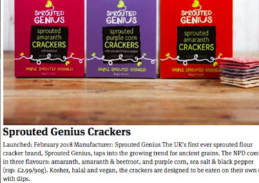 Sprouted Genius coverage in The Grocer, 3 May 2018