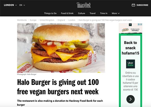 Halo Burger coverage in Time Out, 21 September 2020