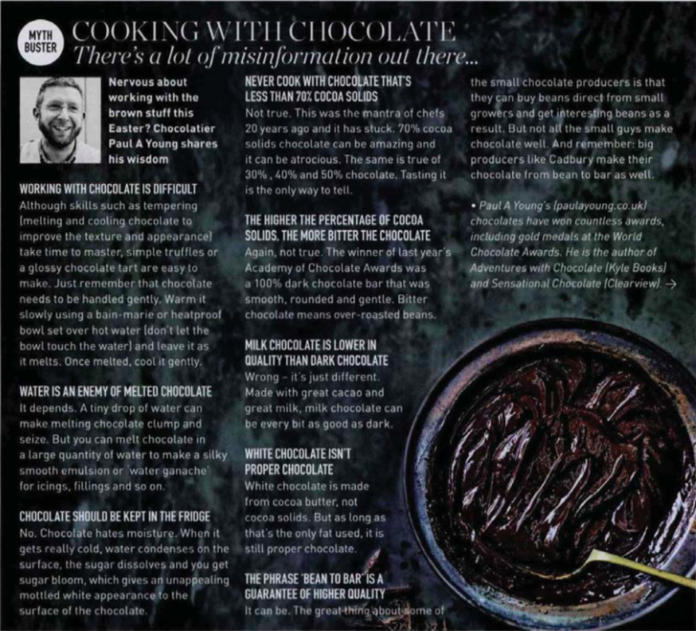 Coverage for Paul A Young Fine Chocolates in Delicious Magazine, 2018-03-01