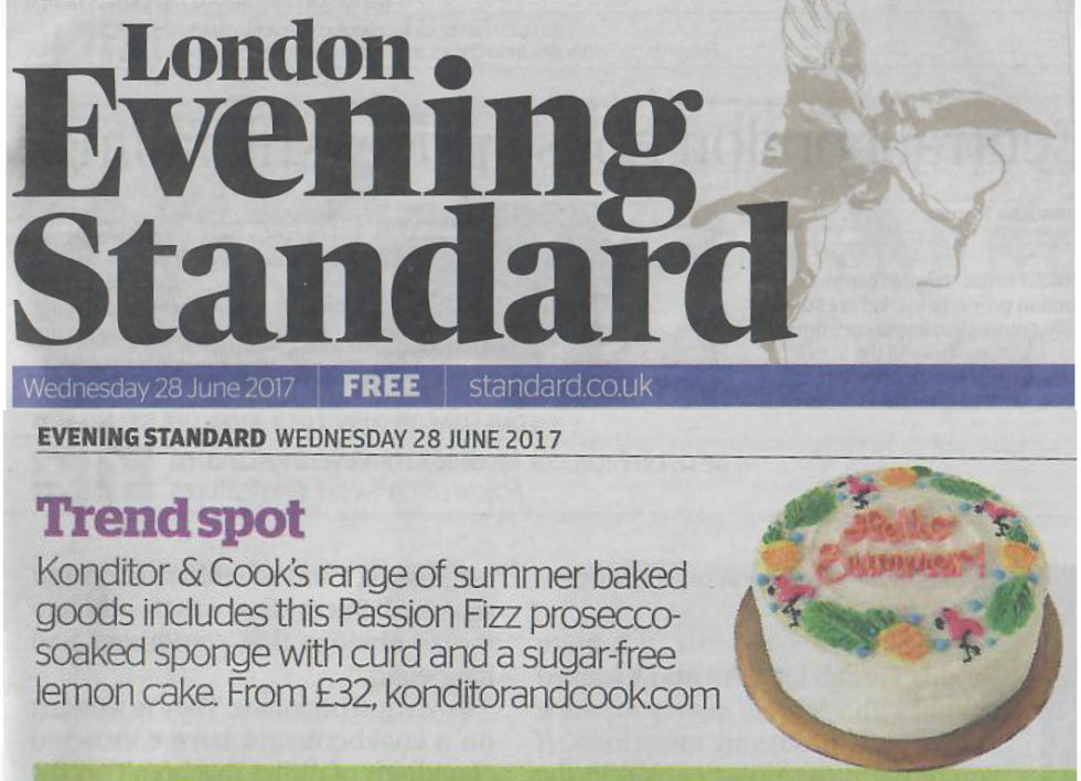 Coverage for Konditor & Cook in Evening Standard, 2017-06-28