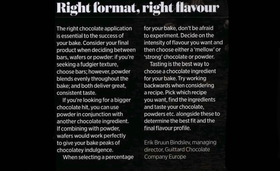 Coverage for Guittard Chocolate Company in The British Baker, 2020-02-01