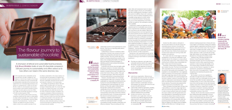 Coverage for Guittard Chocolate Company in New Food Magazine, 2018-11-20