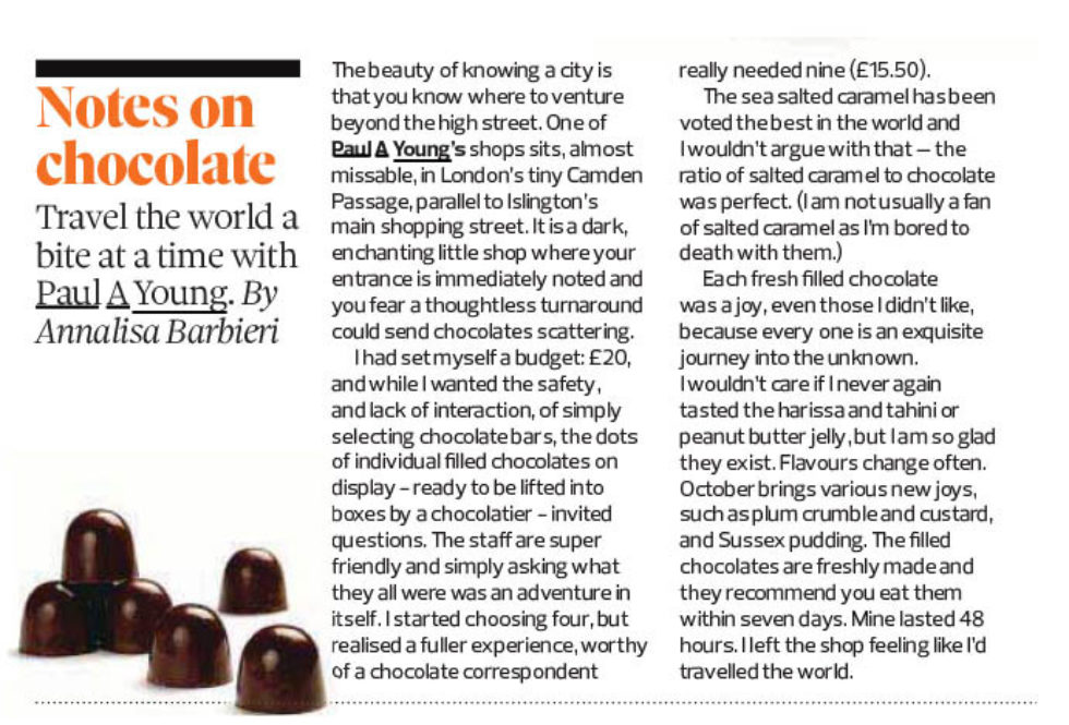 Coverage for Paul A Young Fine Chocolates in The Observer, 2019-10-20