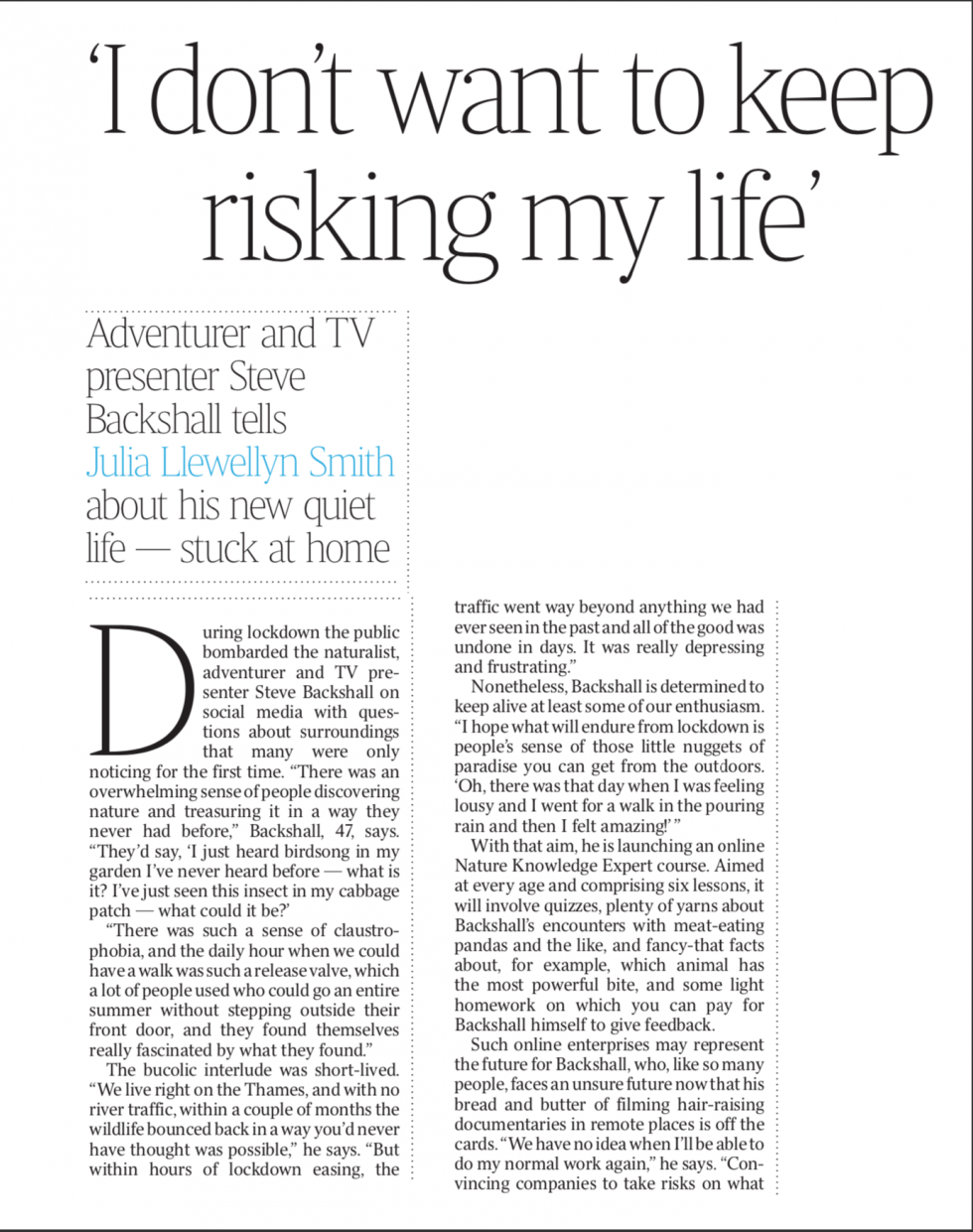 Coverage for Learning with Experts in The Times, 2020-08-08