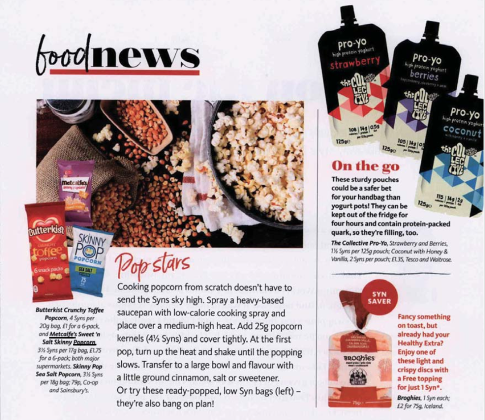 Coverage for Metcalfe's skinny® in Slimming World Magazine, 2018-04-01