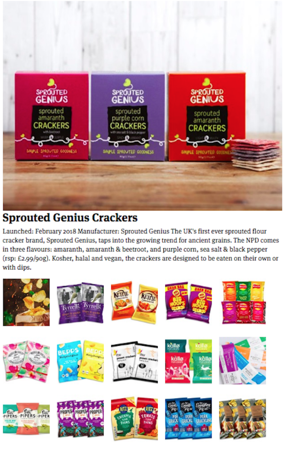 Coverage for Sprouted Genius in The Grocer, 2018-05-03