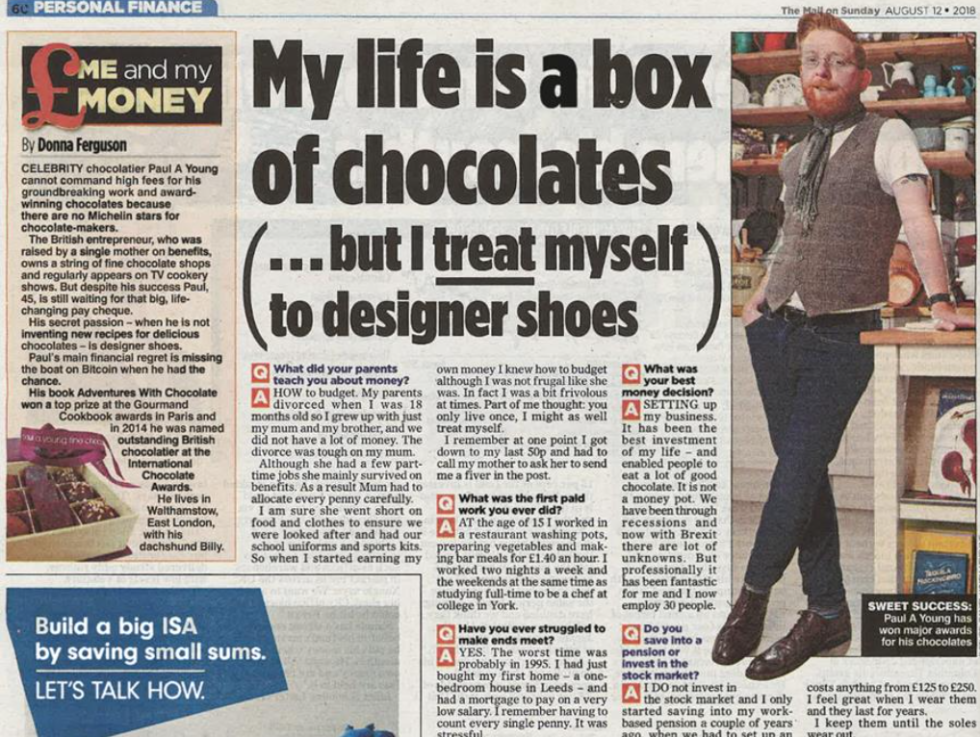 Coverage for Paul A Young Fine Chocolates in The Mail On Sunday, 2018-08-12