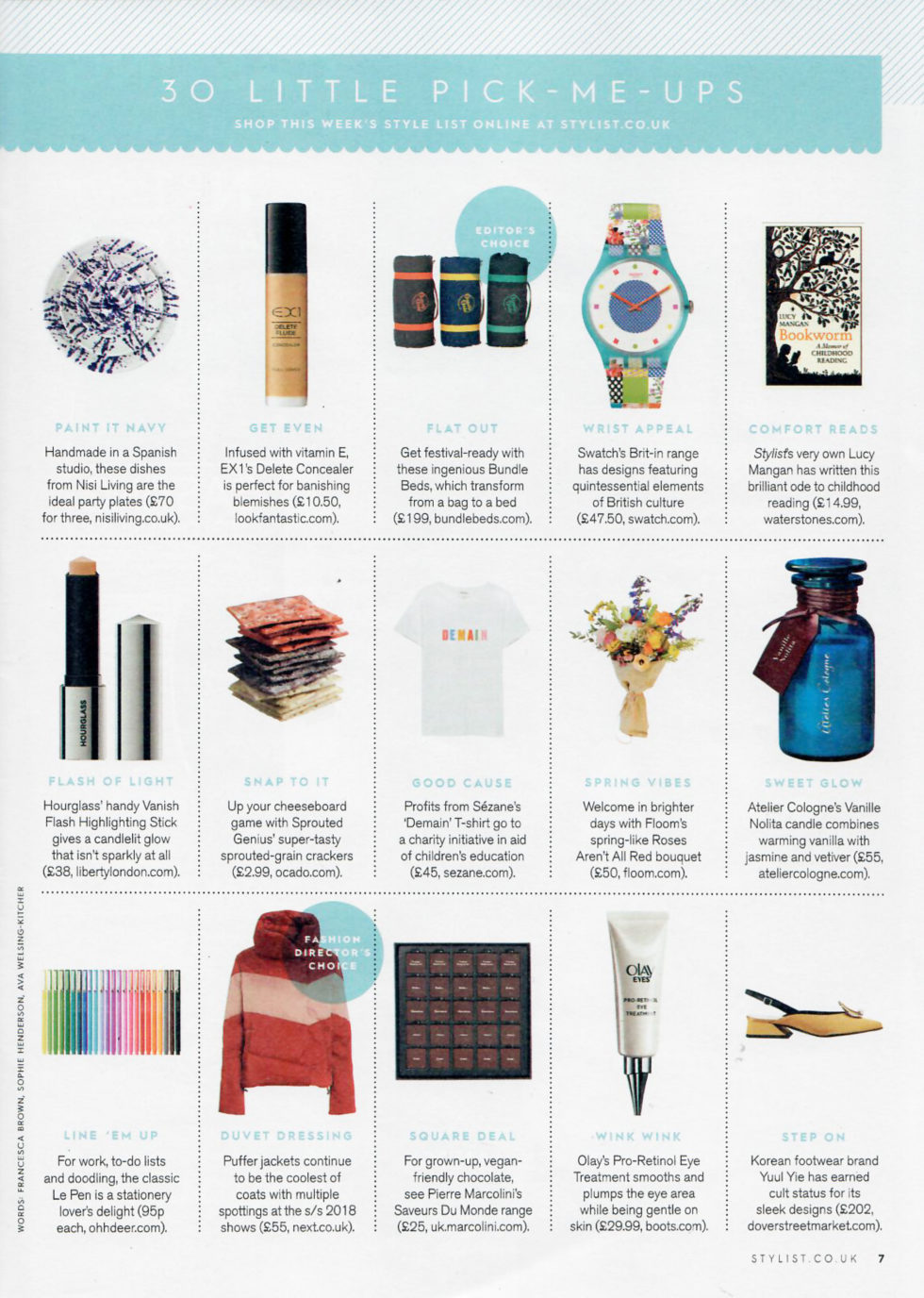 Coverage for Sprouted Genius in Stylist Magazine, 2018-02-28