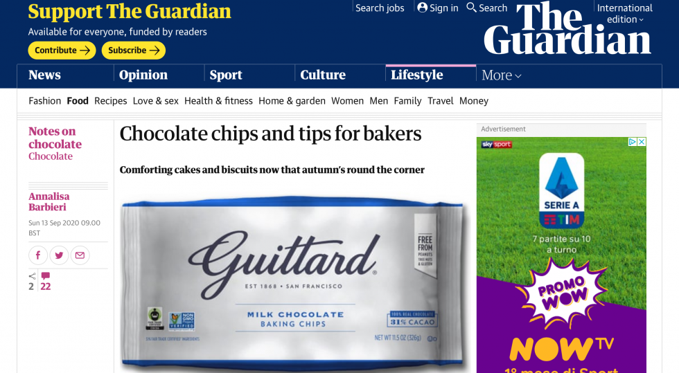 Coverage for Guittard Chocolate Company in The Guardian, 2020-09-13