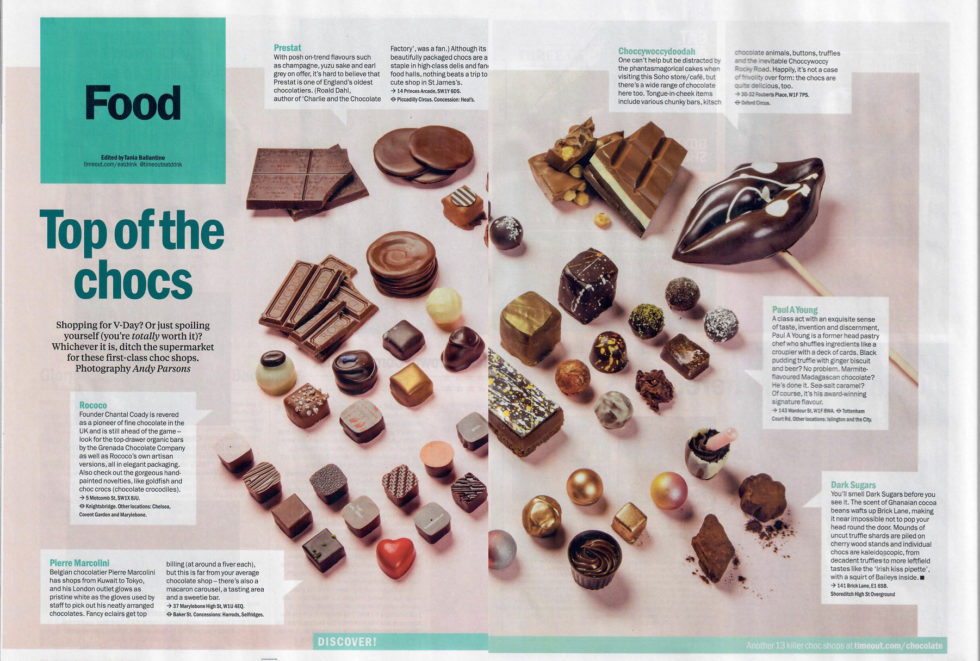 Coverage for Paul A Young Fine Chocolates in TimeOut, 2018-02-06