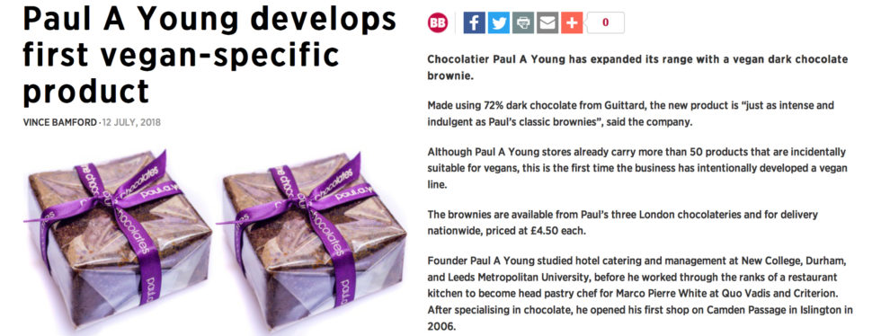 Coverage for Paul A Young Fine Chocolates in British Baker, 2018-07-12