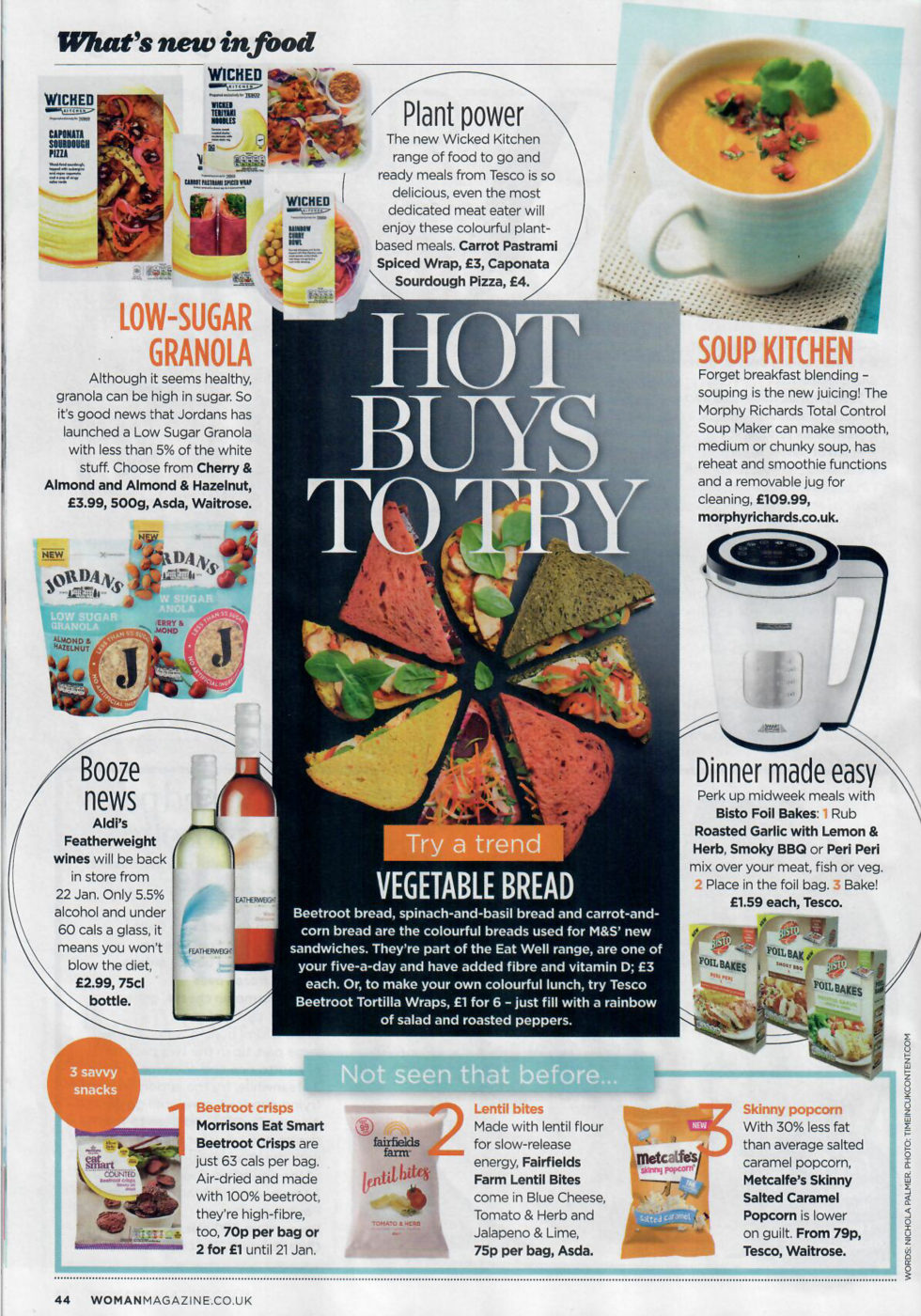 Coverage for Metcalfe's skinny® in Woman Magazine, 2018-01-15