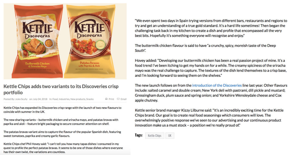 Coverage for Kettle Chips in Food Bev, 2018-07-04